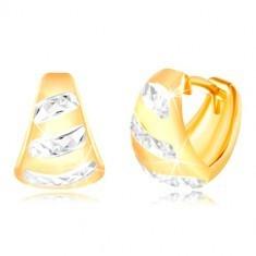 Cercei din aur de 14K - arc mat, linii strălucitoare din aur alb