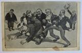 SCENA DE GRUP CU OAMENI POLITICI, CARICATURA , CARTE POSTALA ILUSTRATA , MONOCROMA , NECIRCULATA , INCEPUT DE SECOL XX