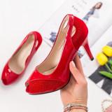 Pantofi cu toc dama rosii MDL00857