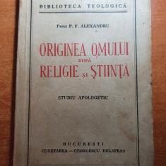 originea omului dupa religie si stiinta - studiu apologetic din anul 1941