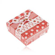 Cutiuță roșie cu alb pentru cercei, stele, copaci, bile, fundă