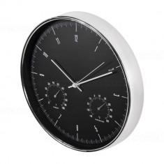 Ceas de Perete Argintiu cu Termometru si Higrometru, Diametru 30cm