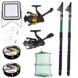 Cumpara ieftin Set pescuit sportiv cu 2 lansete eastshark 2,4m, doua mulinete, proiector solar si accesorii