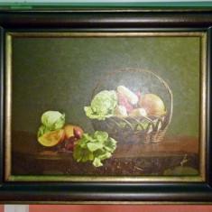 Tablou pictat manual pe panza in ulei Bucatarie - Cos cu Legume, Peisaje, Realism