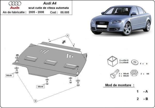 Scut metalic pentru cutia de viteze automata Audi A4 B7 2005-2008