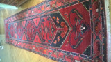 covor traversa persan autentic, 4mx1,05m, manual, lana, semi-antic