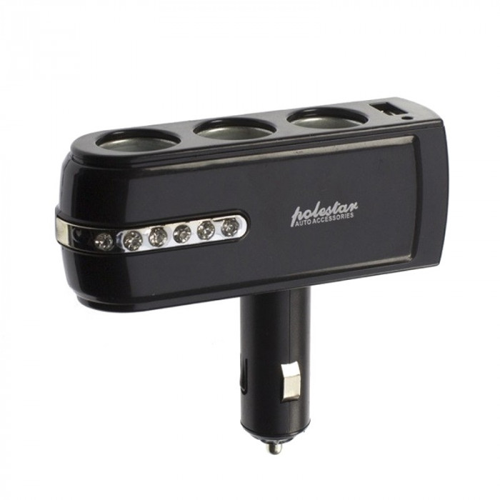 Priza auto Polestar WF-0303, USB, 3 iesiri