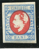 1872 , ROMANIA , CAROL CU BARBA 50 BANI ALBASTRU/ROSU , NEDANTELAT - NESTAMPILAT