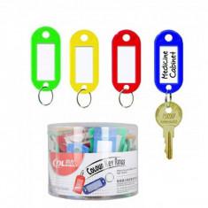 Set 50 Etichete Chei tip Breloc Plastic Colorat Inel Metalic 5.5x2cm