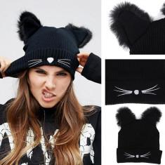 Fes femei/fete cu urechi de pisica, negru, Gonga