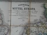 Postkarte von Mittel Europa 1859 Harta Europa 1859, pliabila
