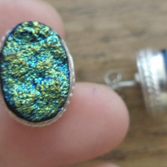 Cercei surub/fluture/cheita metal argintat cu titanium drusy