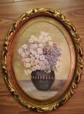 Cumpara ieftin Tablou flori cu rama ovala aurie, ulei pe carton, 33x26, cu sticla, de efect, Realism