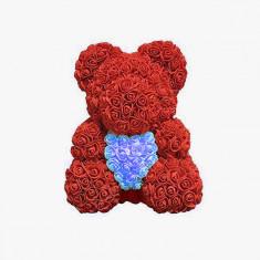 Ursulet floral BIG cu inimioara bleumarin, decorat manual cu trandafiri de spuma, inaltime 40 cm