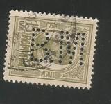 No(08)timbre-Romania 1908-L.P.66-  Carol I gravate -perfin  B.M.-15 bani, Stampilat