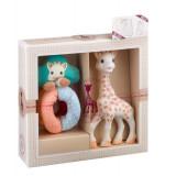 Set jucarie zornaitoare girafa Sophie Vulli, plastic, bilute colorate, 17 cm, 0 luni+, Multicolor