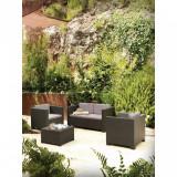 Cumpara ieftin Set mobilier gradina Blooma Diva, canapea cu masa si 2 fotolii, culoare gri antracit Blooma Diva