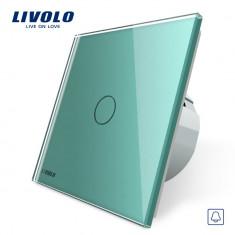 Buton sonerie cu touch Livolo din sticla, Verde
