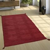 Covor roșu Kilim din bumbac țesut manual, roșu, 160 x 220 cm