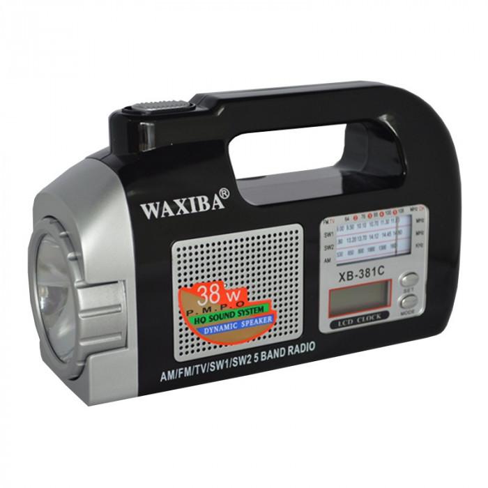 Radio portabil cu ceas Waxiba XB-381C, 5 benzi, lanterna