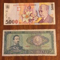 2 Bancnote Romanesti 50 lei (1966) si 5000 lei (1998)