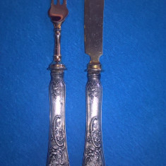 Set cutit si furculita cu maner argint 800 Germania