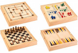 Set 5 in 1 jocuri de societate in cutie lemn Globo 37804 Sah Table Dame