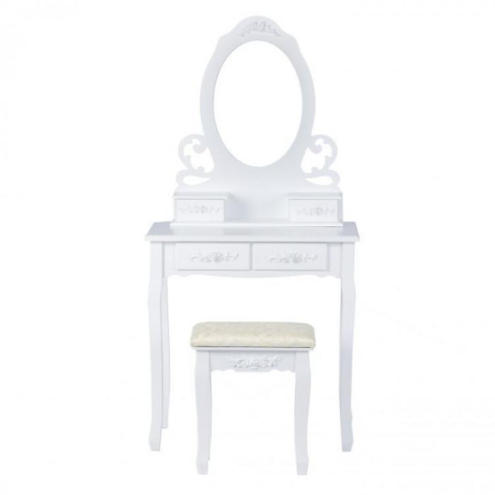 Set Masa Toaleta pentru Machiaj cu Oglinda Ovala si 4 Sertare + Scaun, Stil Victorian, Culoare Alb