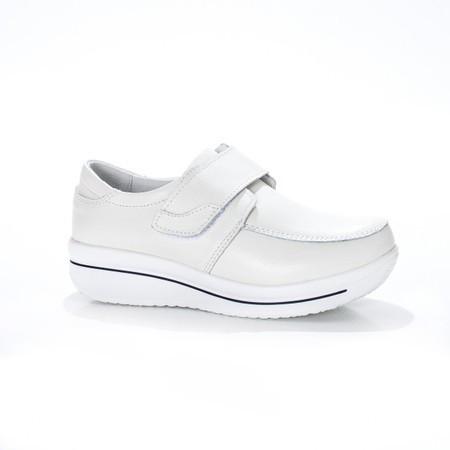 Pantof din piele naturala moale, nuanta alba, bareta peste picior