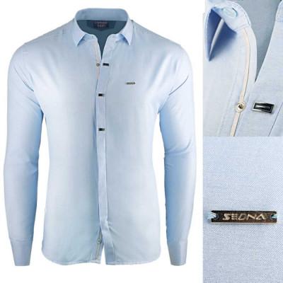Camasa pentru barbati, albastru deschis, slim fit, casual, cu guler - Enrico Rizzo foto