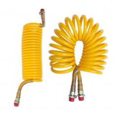 Furtun aer spiralat galben M22 pentru tiruri si camioane
