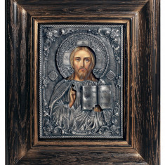 Icoane argintate, Icoana Mantuitorul Iisus Hristos, dim 20cm x 23cm, cod A-17.1