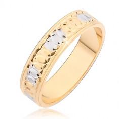 Inel auriu cu adâncituri circulare şi pete argintii - Marime inel: 59