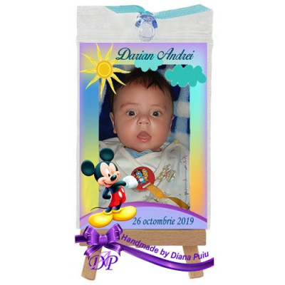 Marturii botez magneti Handmade by Diana Puiu Mickey Mouse MDBM 16 foto