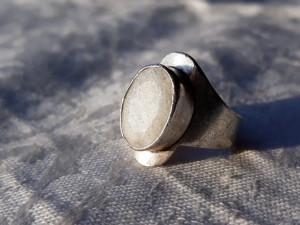 INEL argint PIATRA LUNII BRUTA model TRIBAL de efect SPLENDID vintage RAR