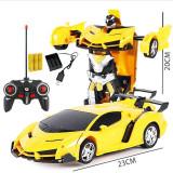 Jucarie Transformer 2in1, masina si robot, cu telecomanda, 22cm, galben, Gonga