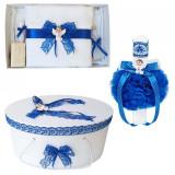 Set trusou botez, cutie trusou si lumanare, dantela si Ingeras, decor Albastru,...