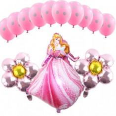 Decoratiuni petreceri copii cu BARBIE/Aurora baloane/pungute/masti