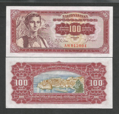 IUGOSLAVIA  100  DINARI  DINARA  1963   UNC   [1]  P- 73a  ,  necirculata foto
