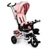 Tricicleta cu scaun rotativ, maner parental, copertina, cos depozitare, suport picioare, centura, culoare roz, Ecotoys