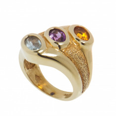 Inel din aur galben14K, cu topaz, ametist si citrin, circumferinta - 49mm