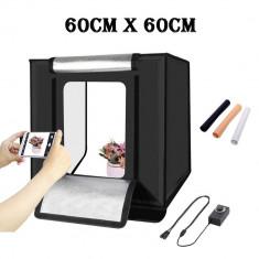 Lightbox portabil 60cm - cub foto cu led incorporat pentru fotografie de produs