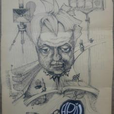 Caricatura Pusi (Dumitru) Dinulescu// tus de Adrian Alessiu, 1985