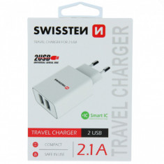 Incarcator Retea Dual USB 2,1 A Samsung Huawei LG Asus iPhone Alb