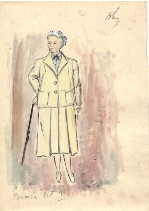 Desen Bunica, costum spectacol, tehnică mixta, 21x29 cm, teatru, scenografie