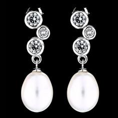 Cercei din Argint 925 cu Perle Naturale si Diamante, Fantasia