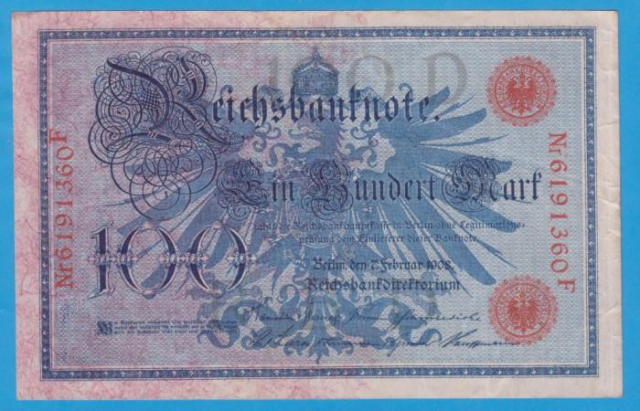 (1) BANCNOTA GERMANIA - 100 MARK 1908 (7 FEBRUARIE 1908), TIMBRU ROSU