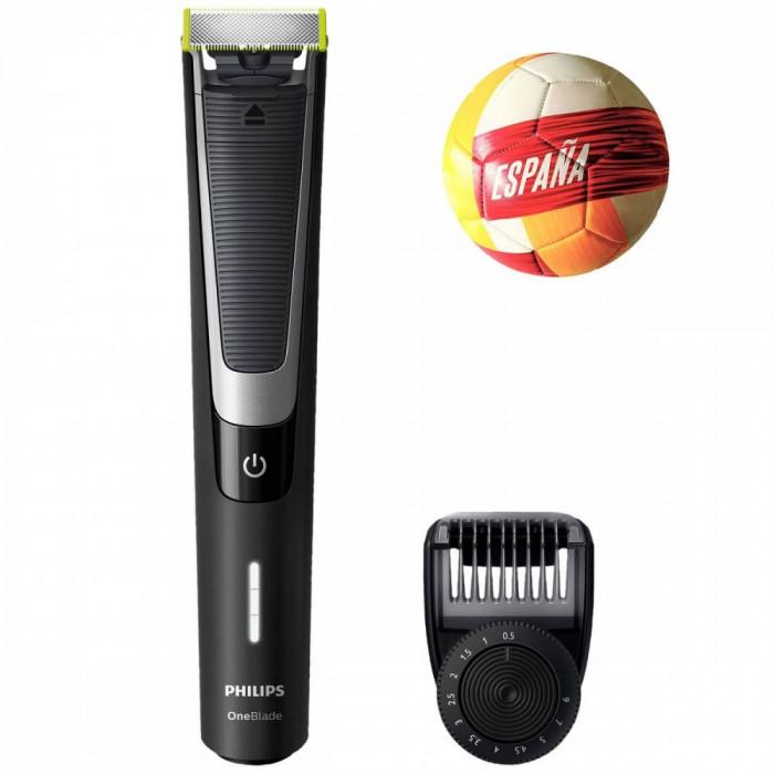 Pachet Aparat hibrid de barbierit si tuns barba Philips OneBlade Pro QP6510/20 Pieptene de precizie cu 12 lungimi Acumulatori Negru + Minge Cadou