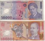 SV * Romania  LOT  BNR   50000 LEI si 100000 LEI 2001 / 2002     +/- XF