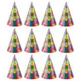 Coif Happy Birthday pentru aniversari, 20 cm, multicolor, set 12 bucati, PRC
